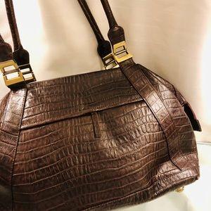 Handbags - Embossed crocodile brown leather bag